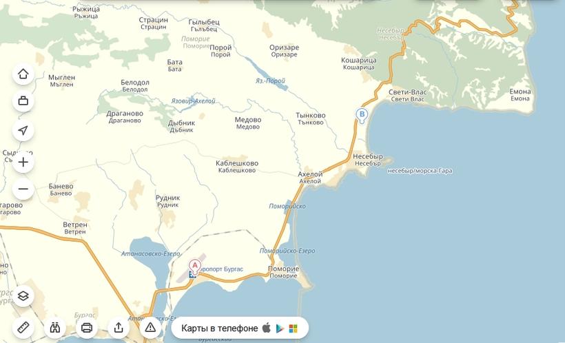 От аэропорта до центрального автовокзала Солнечного Берега ходят автобусы № 10 и № 22